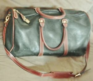 COLE HAAN Green PEBBLED LEATHER Duffle Weekender Travel Bag Carry On Crossbody