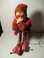"""Vintage Plush Monkey Riding Tricycle Designs by Character Toy Pull Toy 11.5"""""""