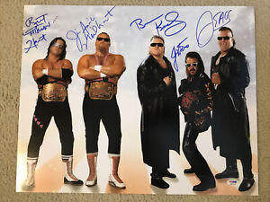 Hart Foundation & Nasty Boys Signed 16 X 20 PSA Card Lost Bret Hart Jim Neidhart