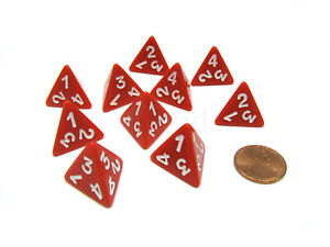 Pack of 10 D4 Opaque 4 Sided Dice - Red with White Numbers
