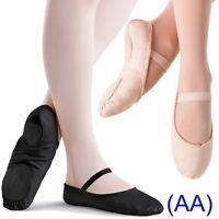 Pink & Black CANVAS Ballet Dance Shoes split suede sole elastics jig pumps (AA)