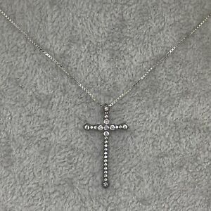 STERLING SILVER Sparkly Gothic Cross Pendant Necklace Crucifix 925 Chain Gift