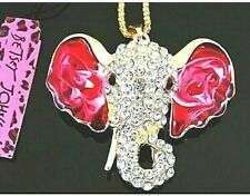 NWT BETSEY JOHNSON  Bling Crystals ELEPHANT PINK Pendant Chain NECKLACE Jewelry
