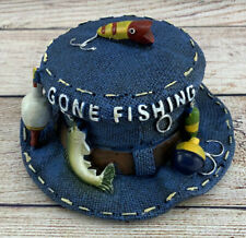 Gone Fishing Hat With Tackle Decoration Blue Resin Painted 5�