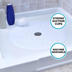 """Round Shower Mat with Suction Cups: 23"""" Diameter, White Mat by SlipX Solutions"""
