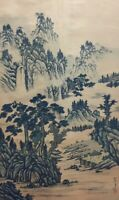 Japanese Hanging Scroll Kakejiku Landscape Mountain Hand Paint Silk Antique H011