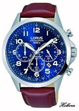 Lorus Gents Watch Blue Dial, Brown Strap, Chronograph RT379FX9. 2 Yr Warranty.