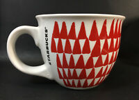 Starbucks 2016 Red & White Christmas Trees Triangles Coffee Mug Soup 14 oz