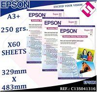 60 HOJAS PAPEL FOTOGRAFICO A3+ PLUS EPSON 329X 483 MM PREMIUM GLOSSY FOTO 250 GR