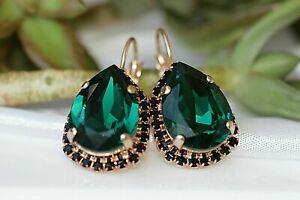 Stylish 4Ct Pear Cut Green Emerald Drop & Dangle Earring 14k Rose Gold Fn