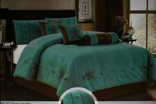 15pc (GIFT SHEETSET) Western Lone Star Comforter Suede King Turquoise-chocolate
