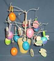 """Lot Easter Spring Decor 12"""" Wire Tree Wood Wooden Glitter Egg Bunny Ornaments"""