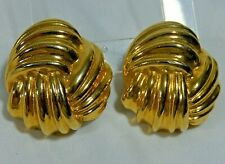 VTG CLASSIC HUGE BOLD LOVE KNOT GOLD PLATED CLIP ON STATEMENT EARRINGS