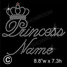 Personalizado Princess y corona de diamantes/imitaci ón diamante transferencia de la revisión de hierro en Motif