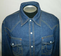 True Religion Dark Stonewashed Denim Snap Front Blue Jean Shirt Tag 2XL