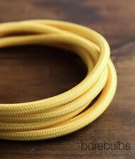 Italian coloured fabric lighting cable flex: Yellow - retro - sold per metre