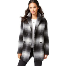 Wildflower Women's Plaid Double Breasted Peacoat, Black/White, S