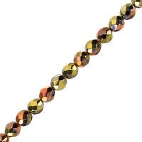 """8mm Fire Polish Beads Czech Jet California Gold Rush 6"""" Strand 20 Piece (G107/4)"""