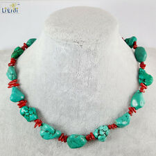 Irregular Turquoise with Red Coral Choker Woman Fashion Jewelry Necklace