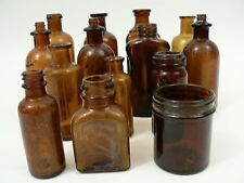 Lot of 14 Antique Brown Amber Glass Apothecary Bottles Drug/Medicine Pharmacy