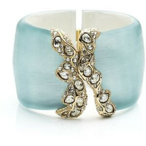 NEW Alexis Bittar Jardin Mystere Torn Edge Hinged Bracelet Blue Gold