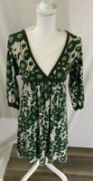Women's Fossil 3/4 sleeve High Waist Green Floral Dress Size Small