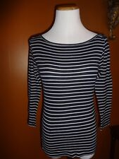 Women's Shirt Juniors Crew Neck Navy Whtie Striped SZ S J. Crew L/S Top Tee