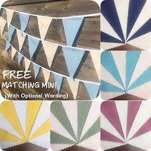 Fabric Bunting Any Colours With White Ivory Cream Wedding Decor+Free Custom Mini