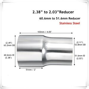 2.4'' 60mm ID To 2'' 50mm OD Stainless Steel Flared Exhaust Pipe Reducer Adapter