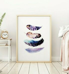 Bird Feathers Purple Blue Abstract Living Room Home Wall Art Poster Print Decor
