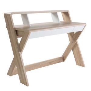 Home Office Light Oak Trestel Design Desk - With Drawer