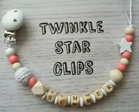 💌 Personalised Wooden Dummy Clip 💌 Crochet  💌 Star 💌 Gift 💌 Love 💌 Baby 💌