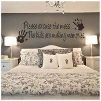 Please Excuse The Mess Kids Making Memories Wall Art Sticker Decal Nursery Decor