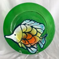 Vintage Jan Mitchell Signed Art Glass Dish with Fish