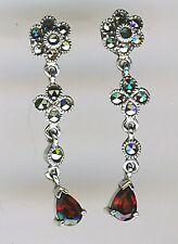"""925 Sterling Silver Garnet & Marcasite Drop / Dangle Earrings Length 1.1/4"""" 33mm"""