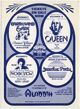Queen, Phoebe Snow Earth Wind & Fire Original 1977 Las Vegas Concert Handbill