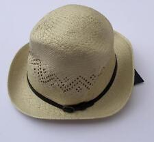 Lauren Ralph Lauren womens fedora straw hat buckle one size  58 nwt natural 999427b4d309