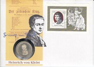 Numisbrief   Deutschland DDR  5 DM   Silber  Heinrich von Kleist  1977