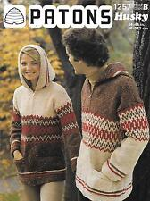 Patons 1257 Vintage Knitting Pattern Mens/Womens Sweater Hoodie Chunky 34-44""