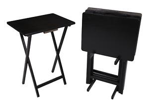 5 Piece Tray Table Set Folding BEVELED Wood Stand TV Snack Dinner Laptop Black