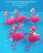 Coastal Mermaids Beach Tropical Decor Flamingo Napkin Ring Pink galvanized metal