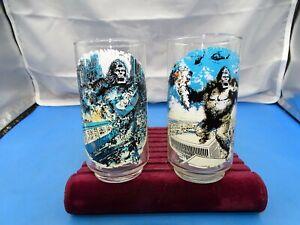 2 Vintage 70's Limited Edition Coca Cola King Kong Promo Glasses