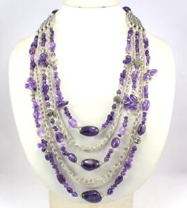 Fine Necklace Amethyst Natural Gemstone Beaded Handmade Jewelry antique Necklace