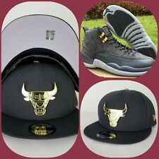 New Era Chicago Bulls Dark Grey Gold Metal Logo snapback hat Jordan 12