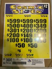 "$2 ""Cosmic Slots"" Pull Tab 3600 Tickets Profit $1672 Free Ship Usa 48"