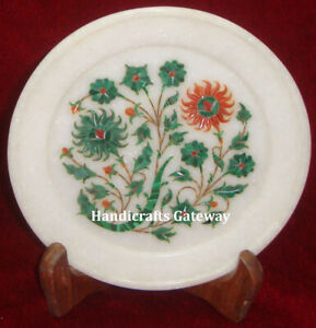Decorative Vintage Marble Inlay Serving Dish Plate, Flower Inlay Design Plate