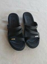 CROCS Women's Black Strappy Slide Wedge Heel Sandals Size 9 Slip On Open Toe