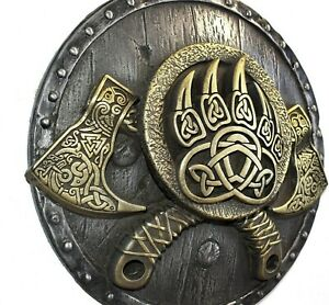 Viking Decor Norse Wall Hanging Art Sculpture Axe Shield Bear Paw Pagan Decor