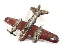 Vintage Cast Iron Plane Military Airplane Bomber Pilot Toy