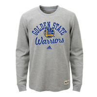 Golden State Warriors Youth Heritage Long Sleeve Thermal Top - Gray by Adidas